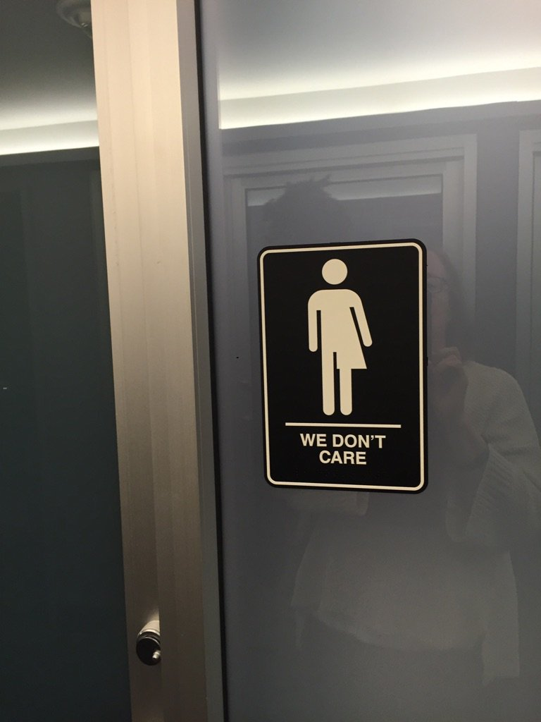 Bathroom sign in a hotel in Durham, NC. #HB2 So many NC folks don't agree with McCrory https://t.co/diZwvRPXNI