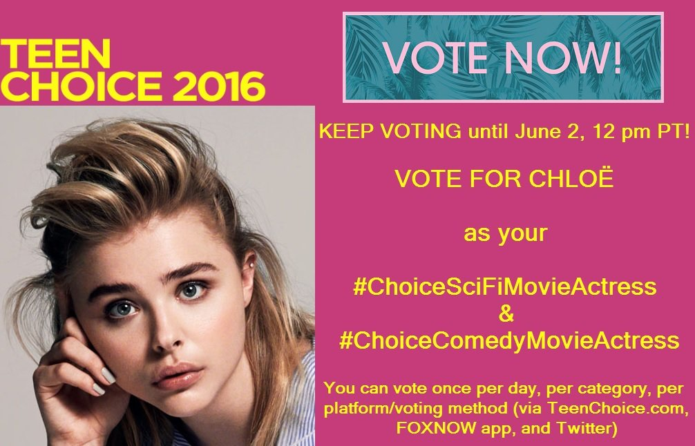 VOTE @ChloeGMoretz for #ChoiceSciFiMovieActress & #ChoiceComedyMovieActress cos she's the best! @TrevorDMoretz https://t.co/Bj89piKaon