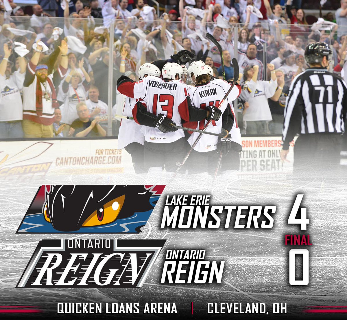AHL: Lake Erie Monsters Take Game 3, Lead Western Conference Finals 3-0