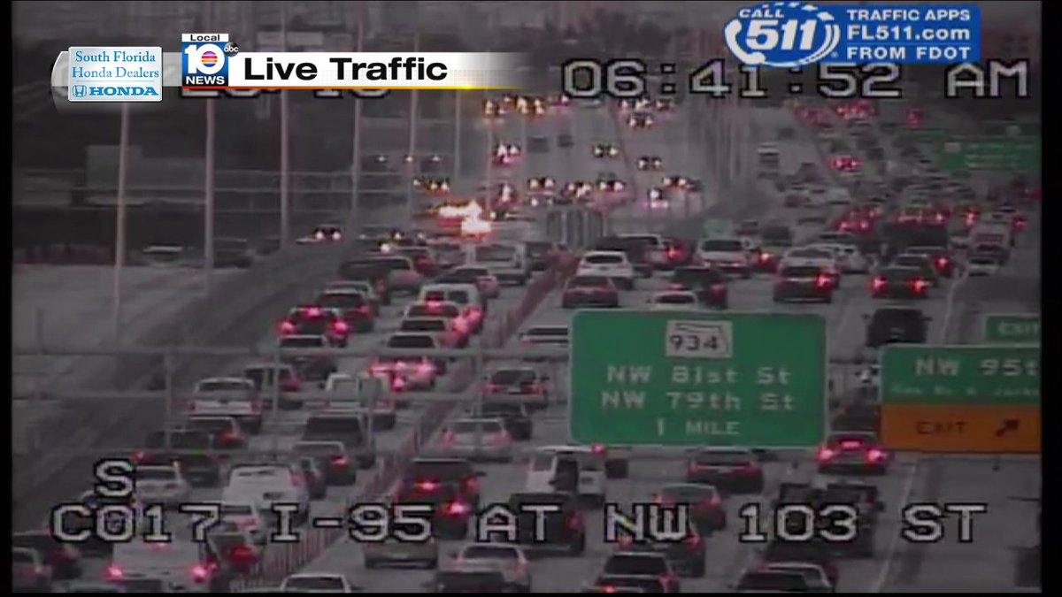 Accident on i-95 sb and nw 103rd st/ express lanes #traffic