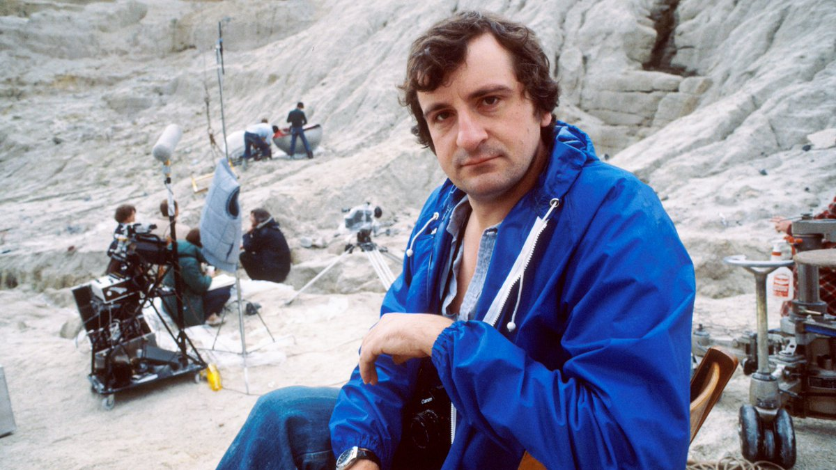 Douglas Adams on the set for the TV version of Hitchhikers