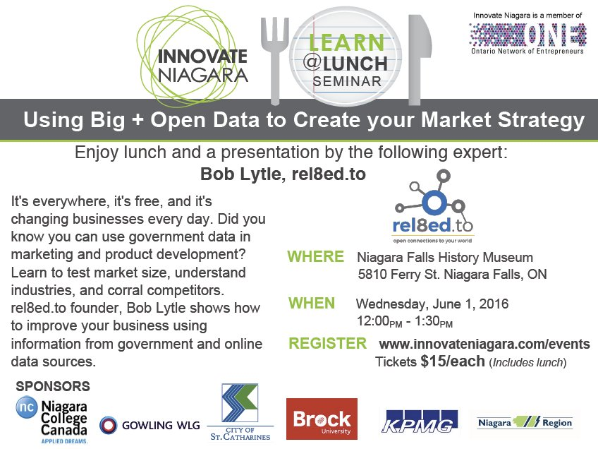 Innovate Niagara Learn@Lunch: Using Big + Open Data to Create your Market Strategy Tickets, Wed, 1 Jun 2016 at 12:00 PM