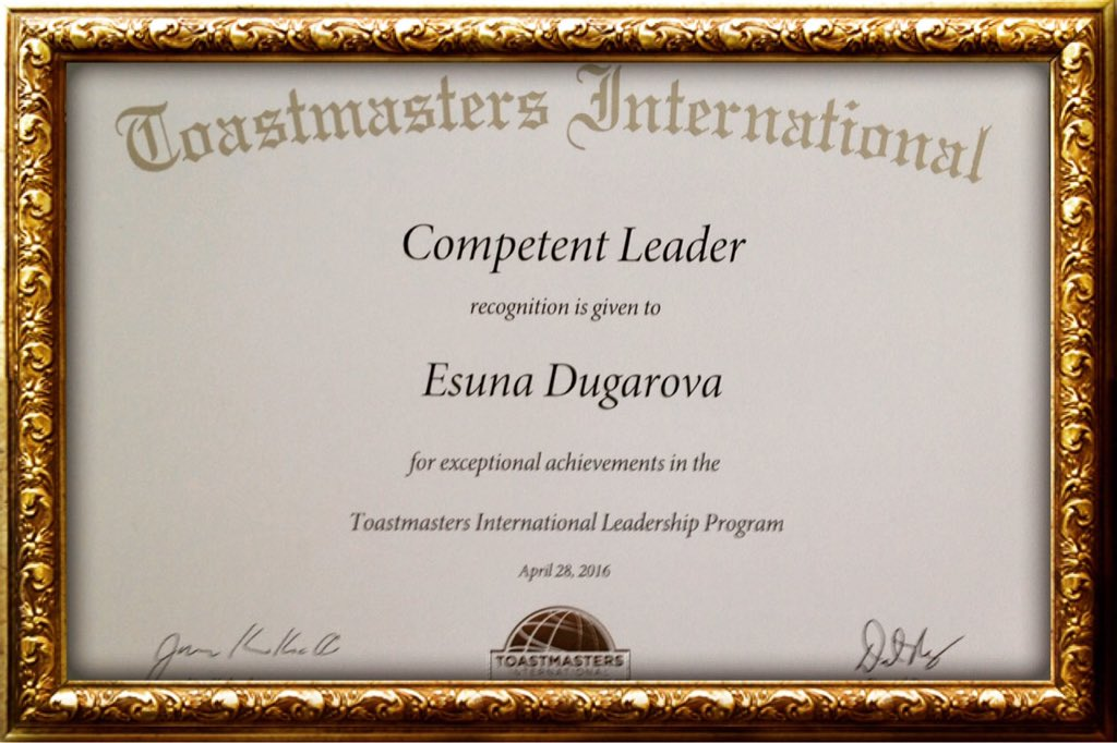 Esuna Dugarova On Twitter Pleased To Be Awarded Competent Leader Certificate By Toastmasters Thanks For Helping Improve Leadership Skills