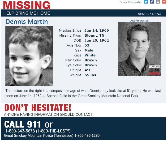 Dennis Martin, missing since June 14, 1969 from Blount, TN https://t.co/lNcMVajInf #RockOneSock