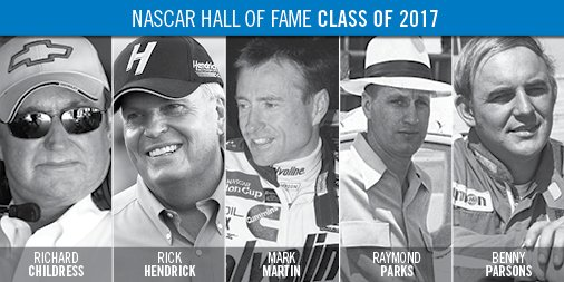 We're proud to announce the #NASCARHOF Class of 2017 Inductees #NASCARHall @markmartin @RCRacing @TeamHendrick https://t.co/7Rayi7hAAe