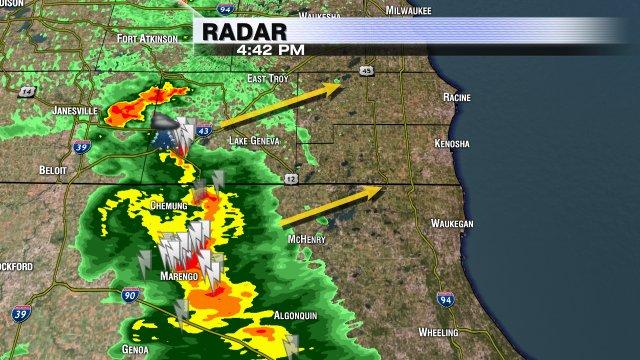 From @VinceCondella1: heavy rain, lots of lightning, small hail Walworth Co. moving NE into Kenosha & Racine cos.