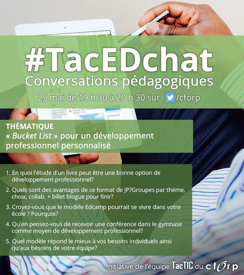 Bonsoir, et bienvenue à la causerie #TacEdChat ! Ce soir, nous discutons de développement prof. personnalisé ! https://t.co/4am4vRIVpp
