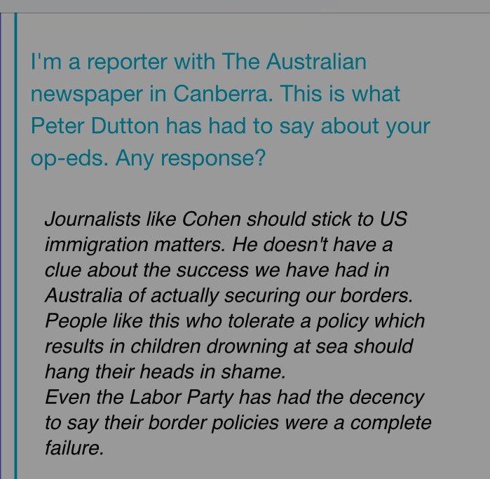 "Australian Immigration Minister Peter Dutton's comment on my column, ""Australia's Offshore Cruelty."" @PeterDutton_MP https://t.co/0hhrYS8VFy"