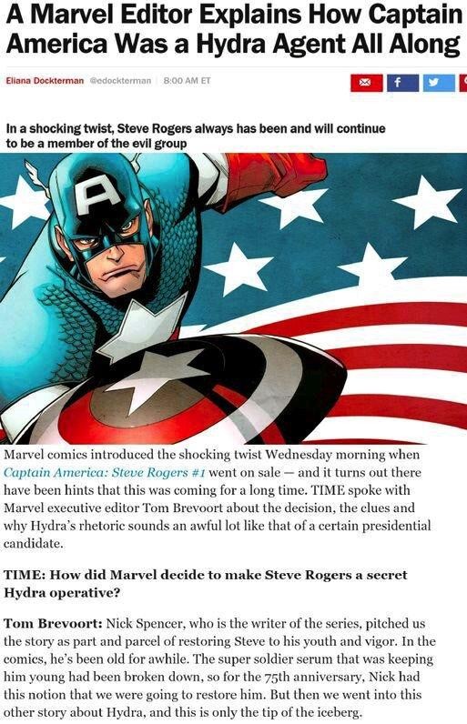 """转:漫威高级副总裁Tom Brevoort证实美国队长的真实身份是为九头蛇效力的卧底特工!!这个设定他和漫画编辑讨论了很久,史蒂夫一直以来都是名为九头蛇效力的特工,""""黑化""""美国队长的计划将从今年开始实施 https://t.co/5fXcqMWpQ6"""