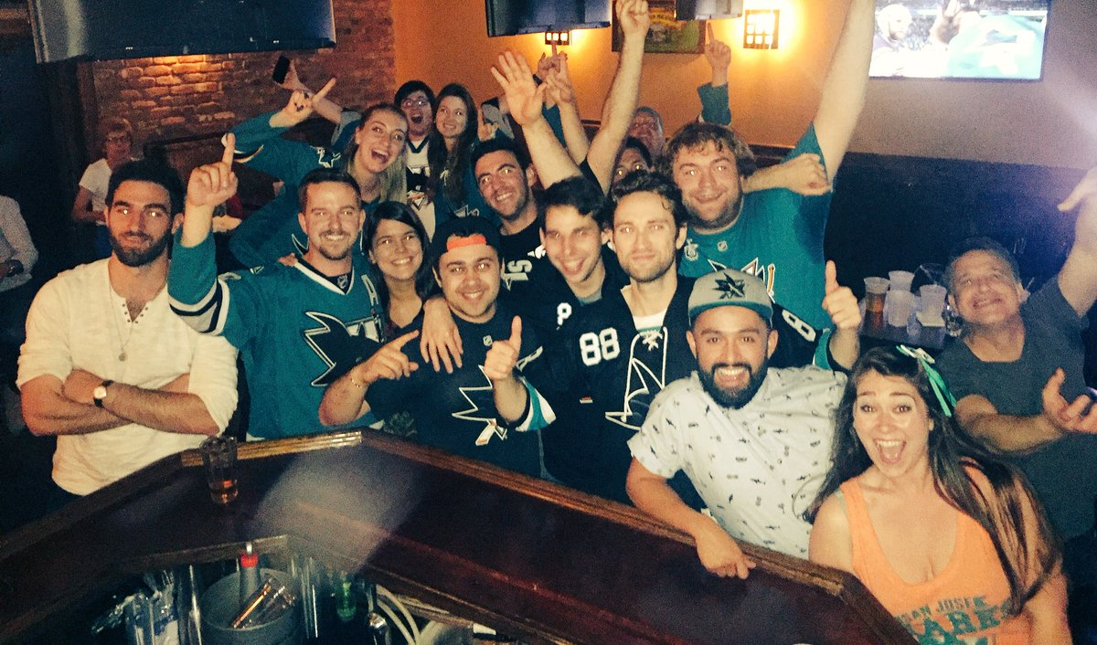 There are some VERY happy @SanJoseSharks fans here in NYC right now!  #RingingTheBell