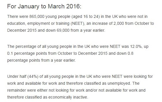 NEET figures show increase of 2000 on Q42015 -concerning news esp after @ImpetusPEF findings https://t.co/gSBWbLoJxx https://t.co/PczMB5Japs