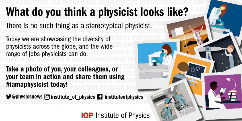 Today is the day! Tweet photos using the hashtag #iamaphysicist and tag @physicsnews so we can share them too
