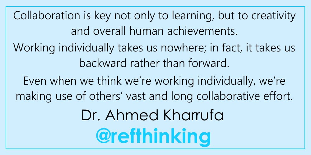 quote via @Refthinking: https://t.co/hXGzYmy4q6 ... connected learning helps you learn more than you ever could on your own! #growthmindset