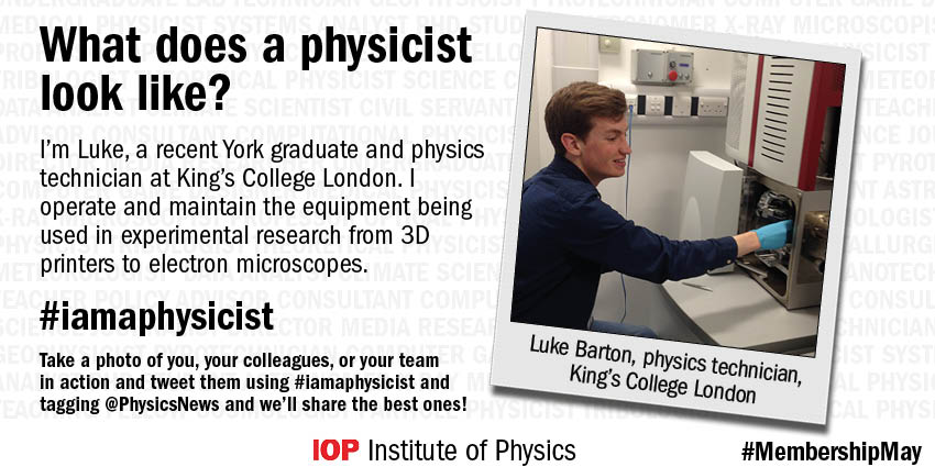 Luke is a physics technician at @KingsCollegeLon who makes sure everything in the lab is ready to go #iamaphysicist https://t.co/Ry8HlfhJbl