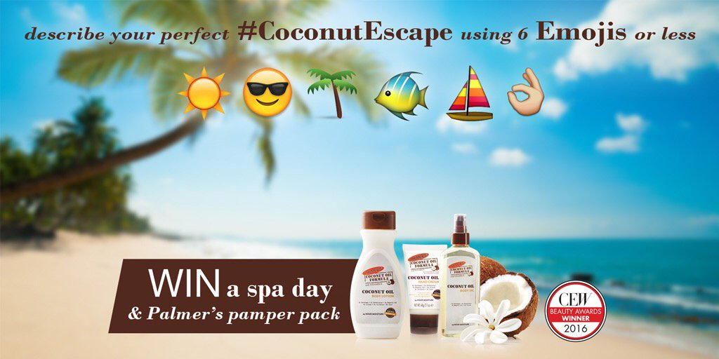 Win a spa day & a Palmer's Pamper Pack! Tweet us your perfect #CoconutEscape in 6 Emojis or less.☀️