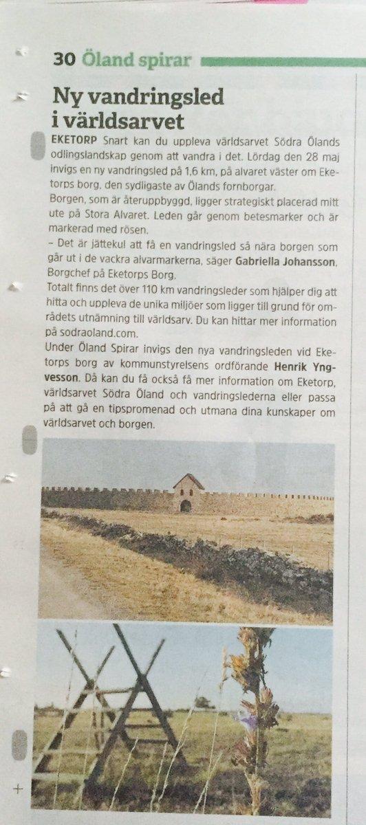 RT @EmmaRydner: På lördag 28/5 klockan 13 invigs en ny vandringsled i världsarvet #södraöland - Eketorpsleden. https://t.co/W0ZnvDiLH6
