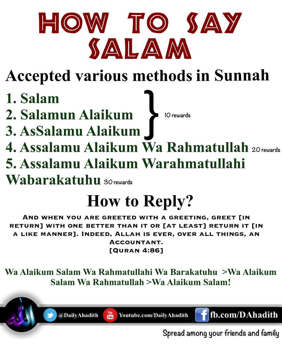 Daily a hadith on twitter many people say salam in different ways daily a hadith on twitter many people say salam in different ways but whats the sunnah how to say reply salam learn spread m4hsunfo