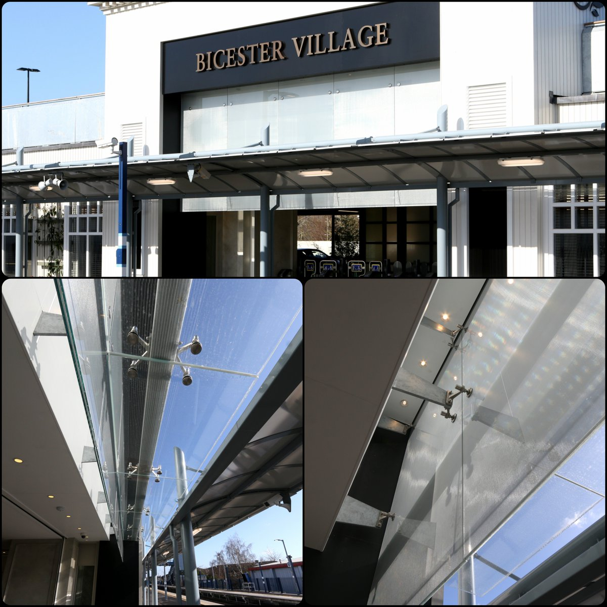 Bicester Village Train Station in Oxfordshire Frameless spider glazing incorporating a feature mesh inter-layer. https://t.co/1hqTTVJ1AS