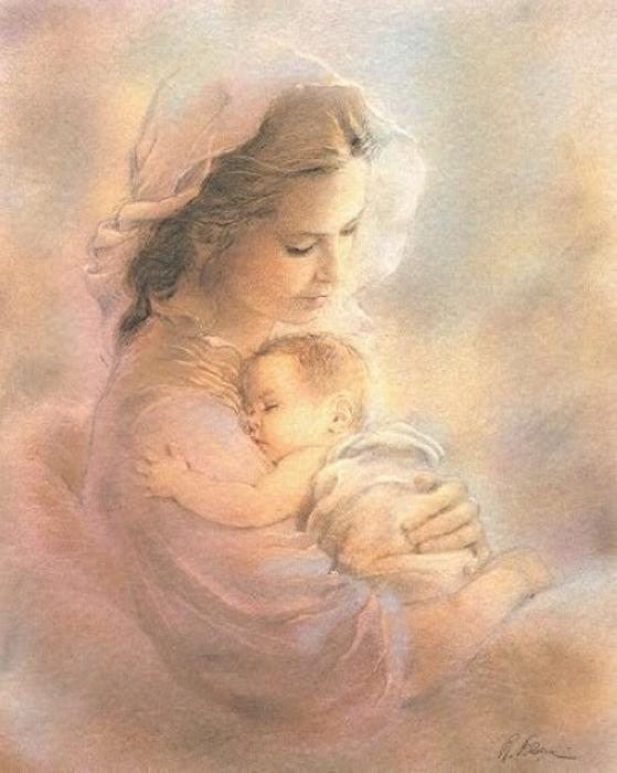 Открытка мама и дитя, картинка обои