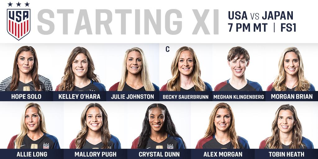 Today's #USAvJPN Starting XI: Solo; O'Hara, Johnston, Sauerbrunn (c), Kling; Brian, Long, Pugh; Dunn, Morgan, Heath.