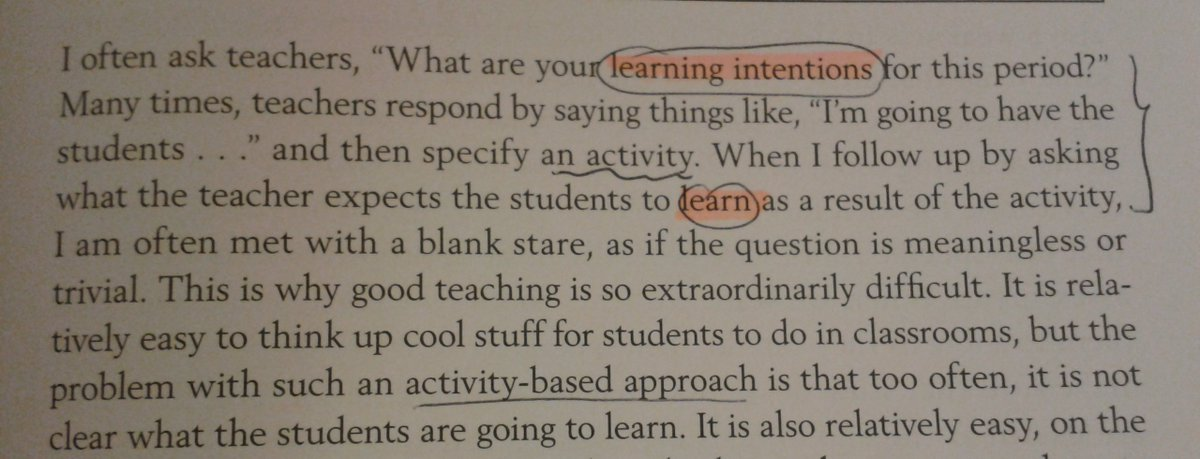 The most important question when you plan your lessons. #edchat  @dylanwiliam Learning vs. activity. https://t.co/dYh9wbLK30