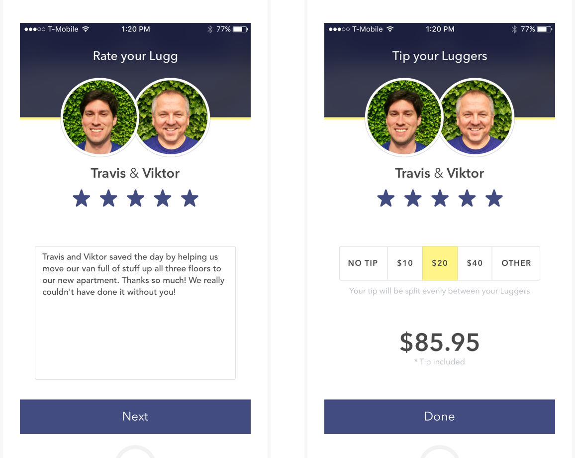 lugg app tipping