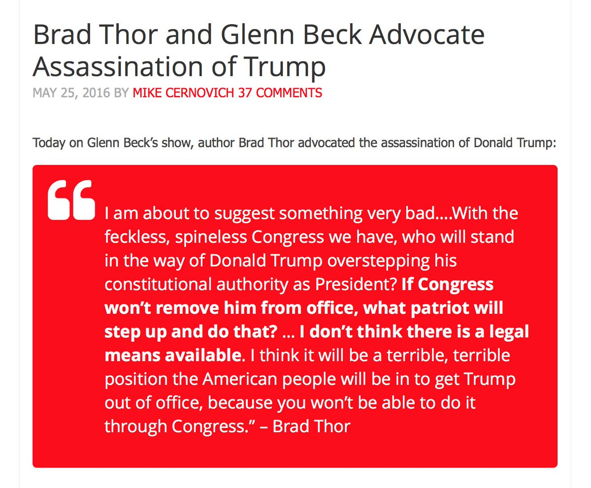 Did Glenn Beck lapdog Brad Thor suggest assassination of Donald Trump?