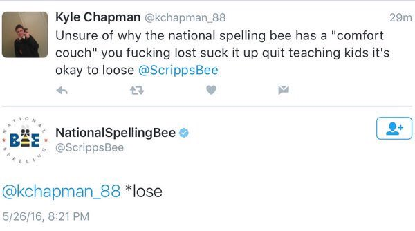 Twitter at its greatest. @ScrippsBee owns kid for misspelled word. FTW #SpellingBee https://t.co/FpmhY71p5G