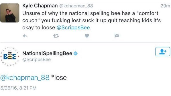 That moment when you get checked by the #spellingbee