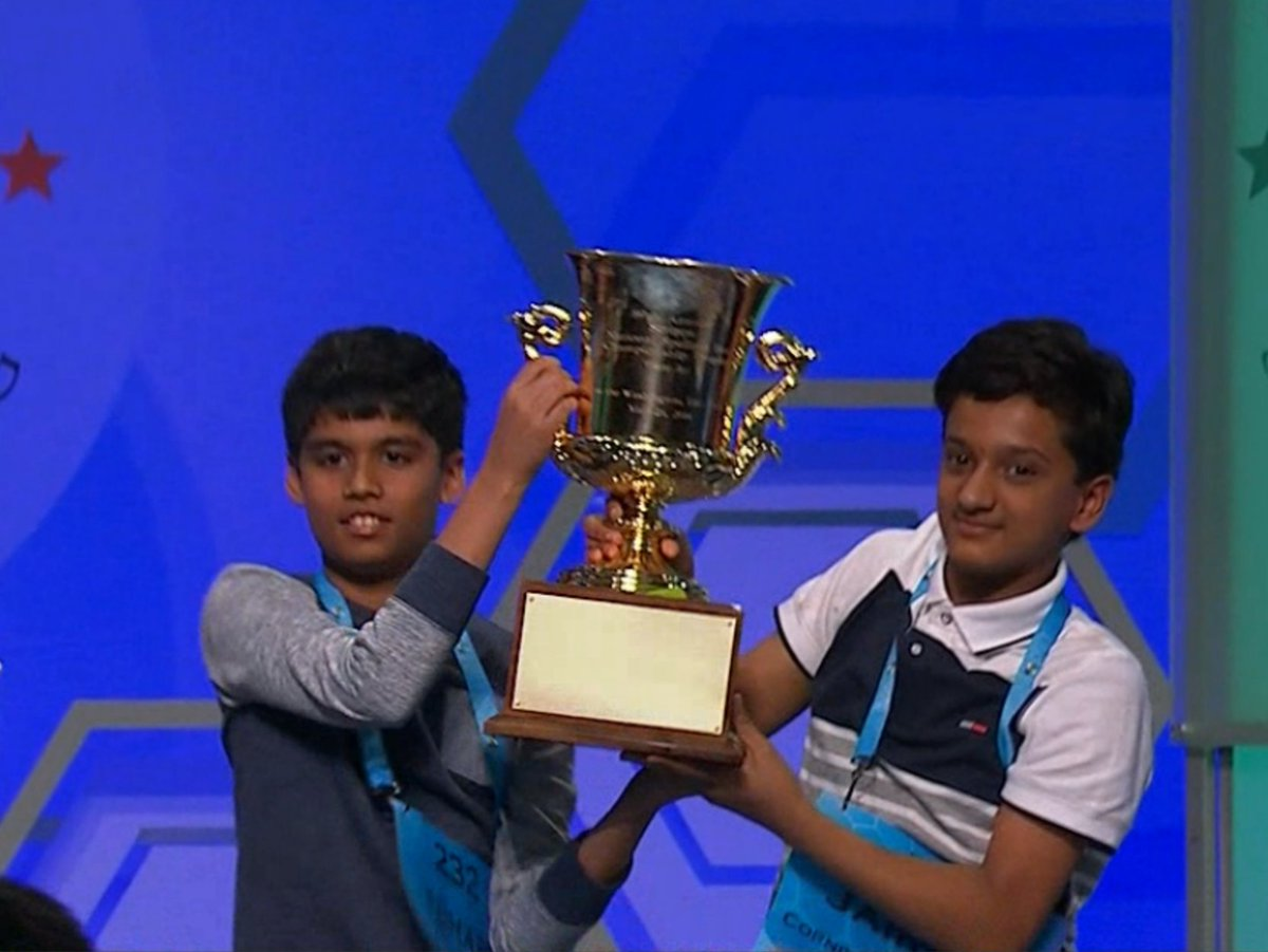 "What a Bee!  Nihar ""The Machine' Janga AND Jairam Hathwar are your 2016 Scripps #SpellingBee co-champs!"