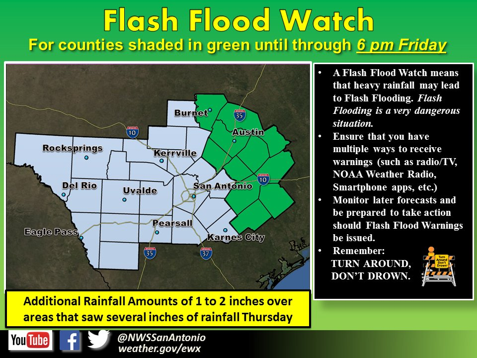 4:24a - Flash Flood Watch now goes through the day Friday for Counties east of I-35.