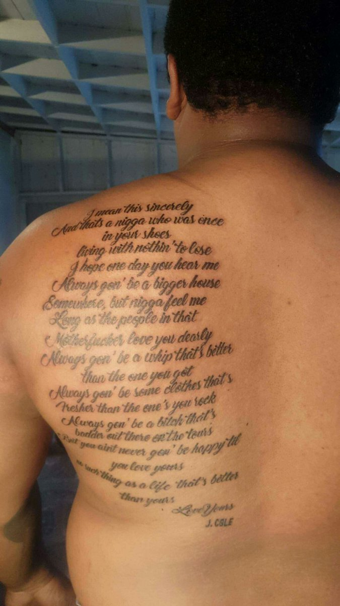 Desi Perez On Twitter Got Jcole Love Yourz Lyrics Tattooed On Me