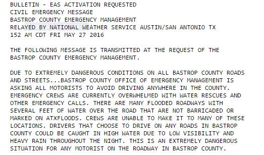 CIVIL EMERGENCY for Bastrop County. Officials are asking people NOT to be on the roads. @kvue
