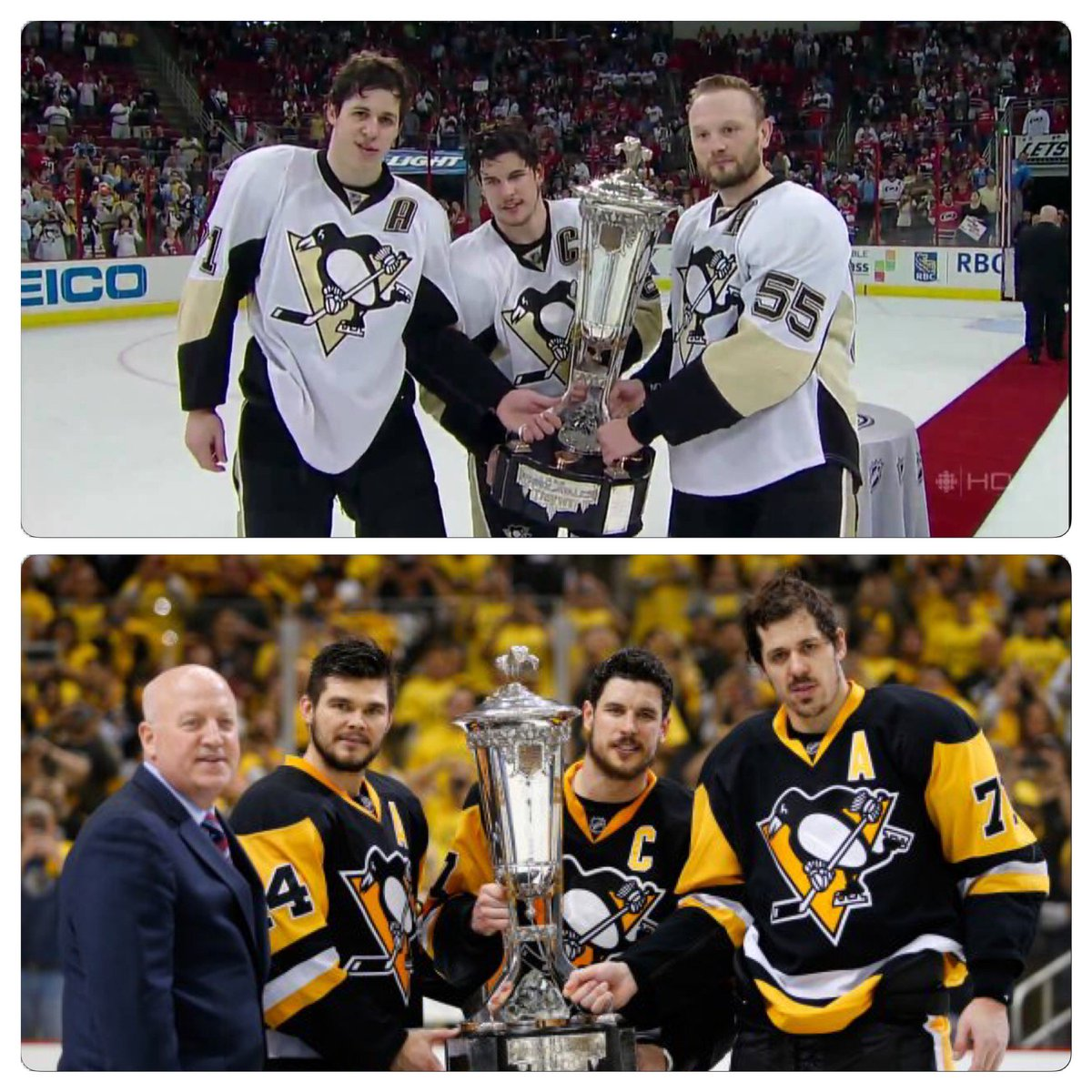 Sidney Crosby and Evgeni Malkin - older, but the same. Look at stance. Same gait, pose, different sides. #Pens #NHL https://t.co/3zaBpwo7Xp
