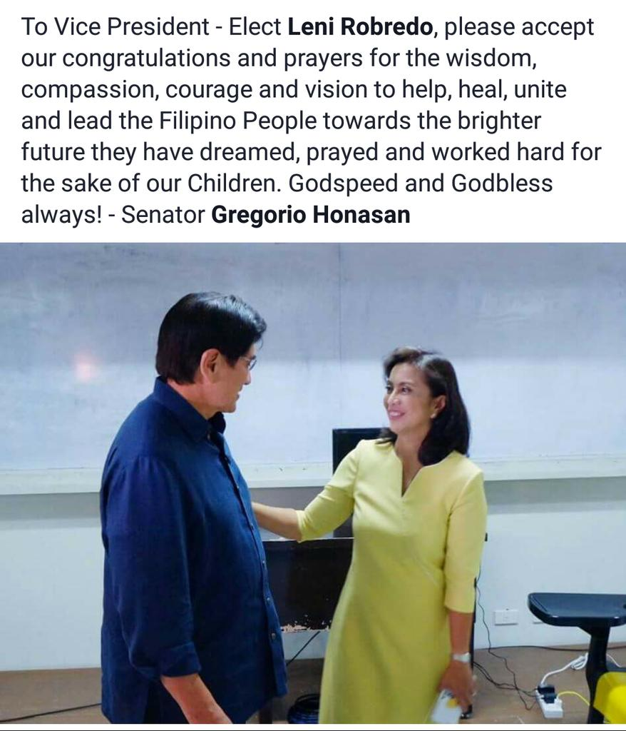 Congratulations VP-Elect @lenirobredo. Godspeed and God bless. https://t.co/T7vU0KFMPu
