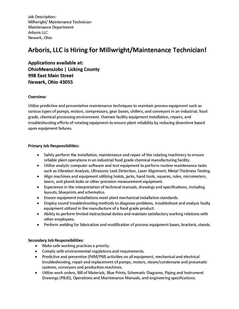 mechanical technician job description job description facility