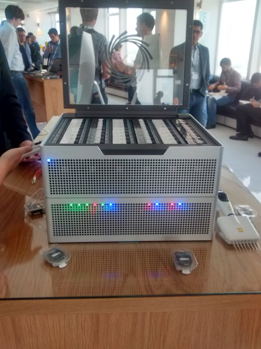 Staring at a PromethIon, imagining a few racks in action, producing Googolbases of data #nanoporeconf https://t.co/STREsbFmLb