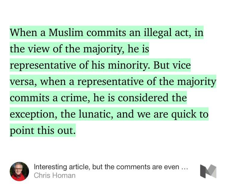 """""""무슬림이 불법을 저지르면, 다수는 그를 소수의 대표자로 취급한다. 하지만 다수에 속하는 사람이 범죄를 저지르면, 그 사람은 예외적인 미친 사람으로 취급되곤 한다."""" https://t.co/OKgtOzuPZZ https://t.co/PoB3aOrq1v"""