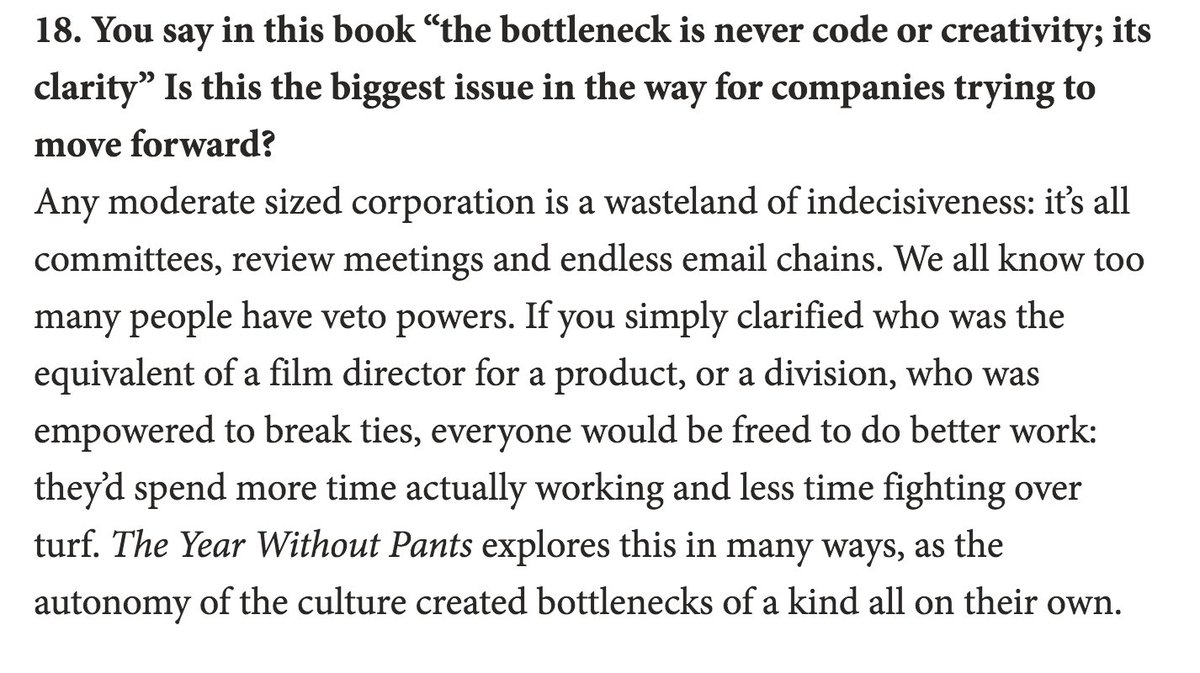 "Read for this alone ""the bottleneck is never code or creativity; its clarity"" from @berkun https://t.co/JqWe0jG1Ey https://t.co/adazf0g2yB"