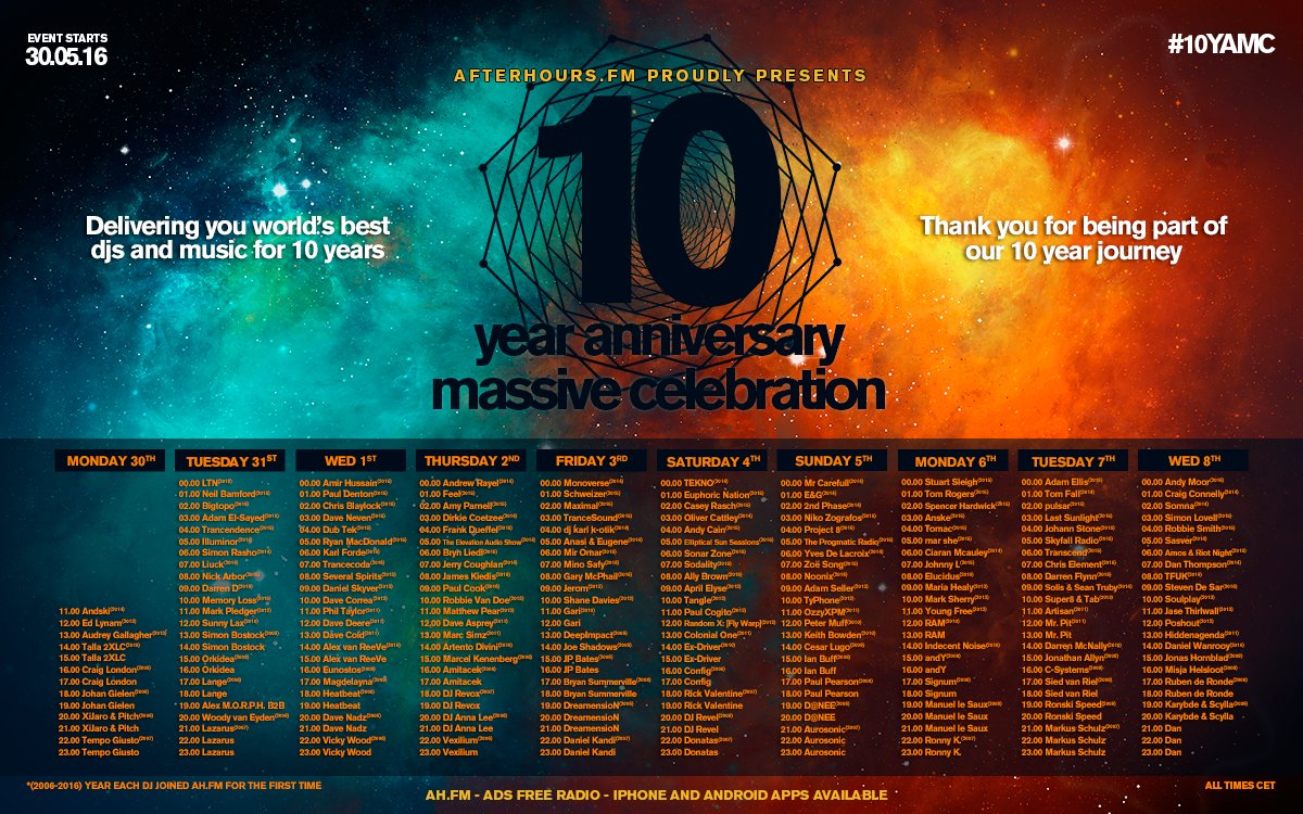 Full line up for our 10th Anniversary!!  #10years10days #10YAMC #AHFM  Full HQ image: https://t.co/KEFmrC93vu https://t.co/Ikz9vWvqLG