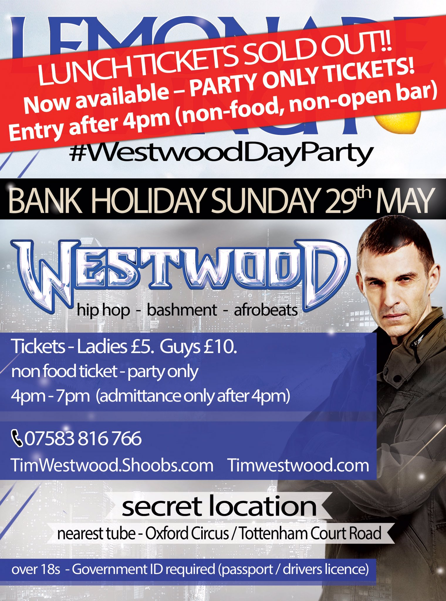 #WestwoodDayParty LUNCH TICKETS SOLD OUT! Now available - PARTY ONLY TICKETS! info https://t.co/DkeU4NhNOX https://t.co/VFT7brh8FO
