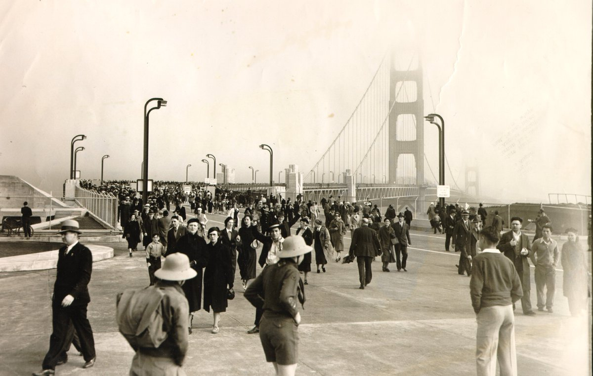 Pedestrian Day for opening of #GoldenGateBridge 79 years ago today. @KarlTheFog - you were there in 1937! https://t.co/70ZClbQZqW