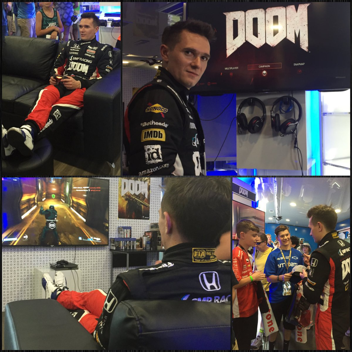 A few lucky fans just got to play @DOOM with @mikhailaleshin in the @playstation #PS4 trailer at @IMS! https://t.co/CqW5bVKhFO