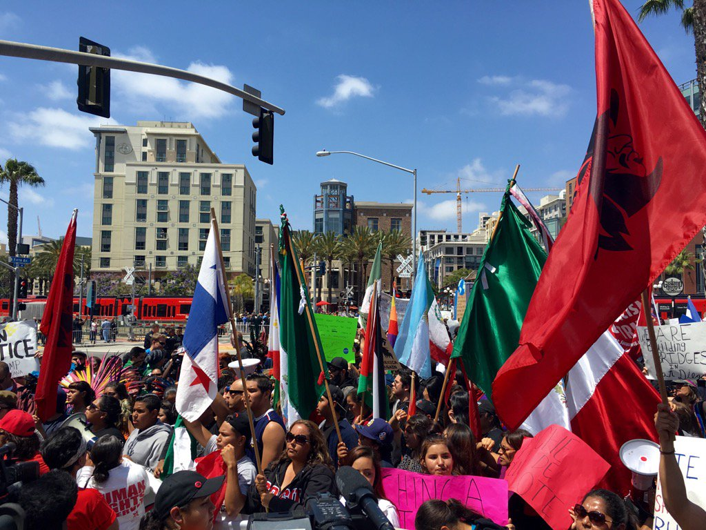 Leftist thugs protest Trump in San Diego, can you find an American flag?