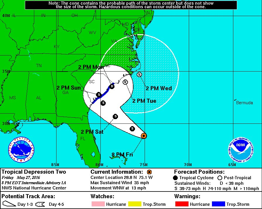 Tropical storm warning issued for SC coast after tropical depression forms