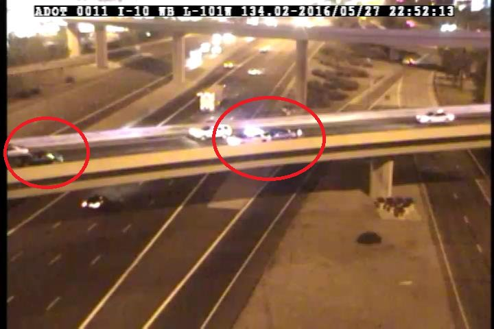 L-101 SB to I-10 EB: A crash and a secondary crash are blocking the left lane on the transition ramp. PhxTraffic
