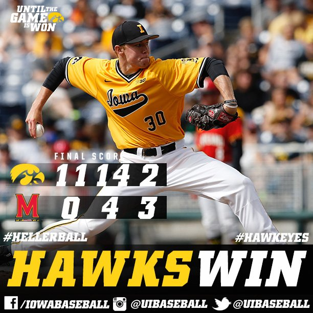 #Hawkeyes Win!  On the to B1G Title game!  Gallagher 9 Ks, 8th win... Offense 11 runs, 14 H #B1GBaseball https://t.co/9TIxXaB9z7