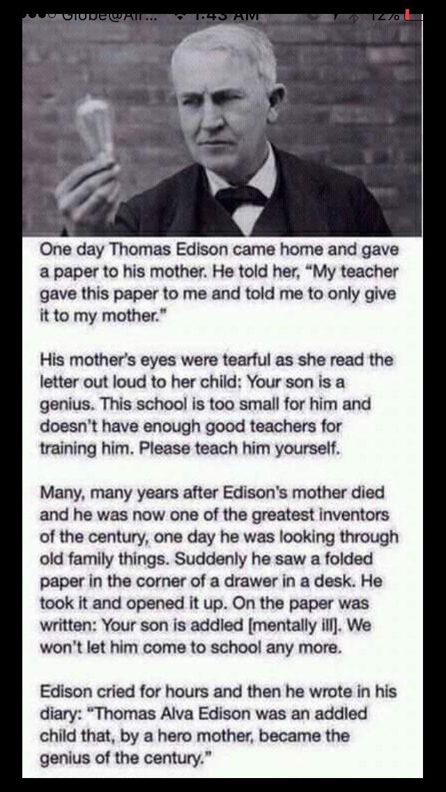 Thomas Edison : power mother true story Thomas Edison mother