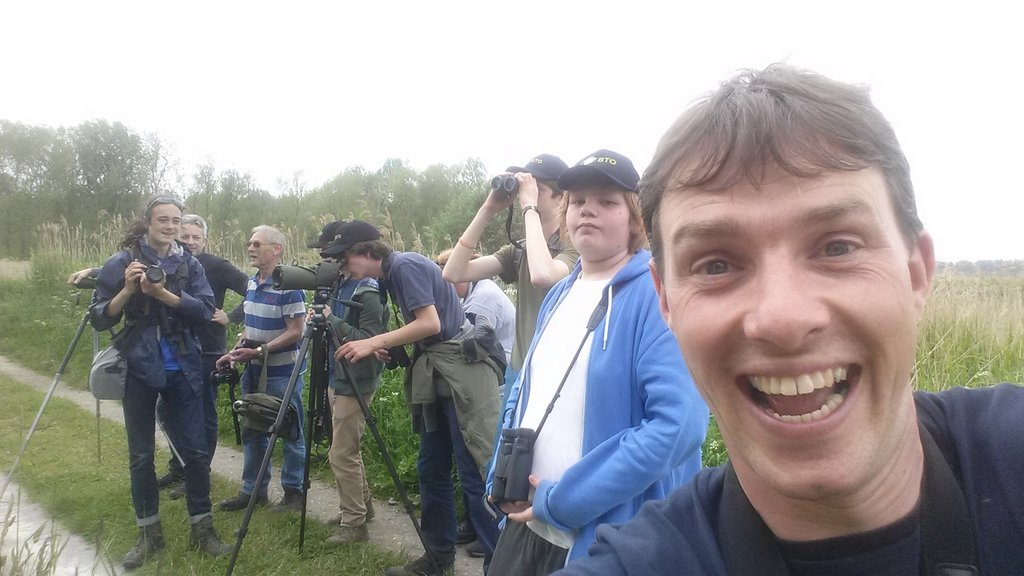 #Selfie with #BTObirdcamp #YoungBirders, watching very close cuckoo. @_ieuan @TobyWarbler @Ben_Moyes16 @_BTO https://t.co/OC4JFFqhfk