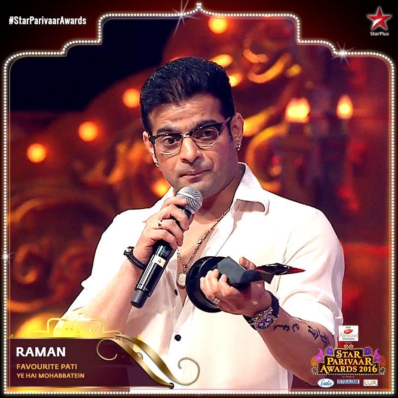 Karan Patel aka Raman Bhalla in Yeh Hai Mohabbatein wins Favourite Pati award